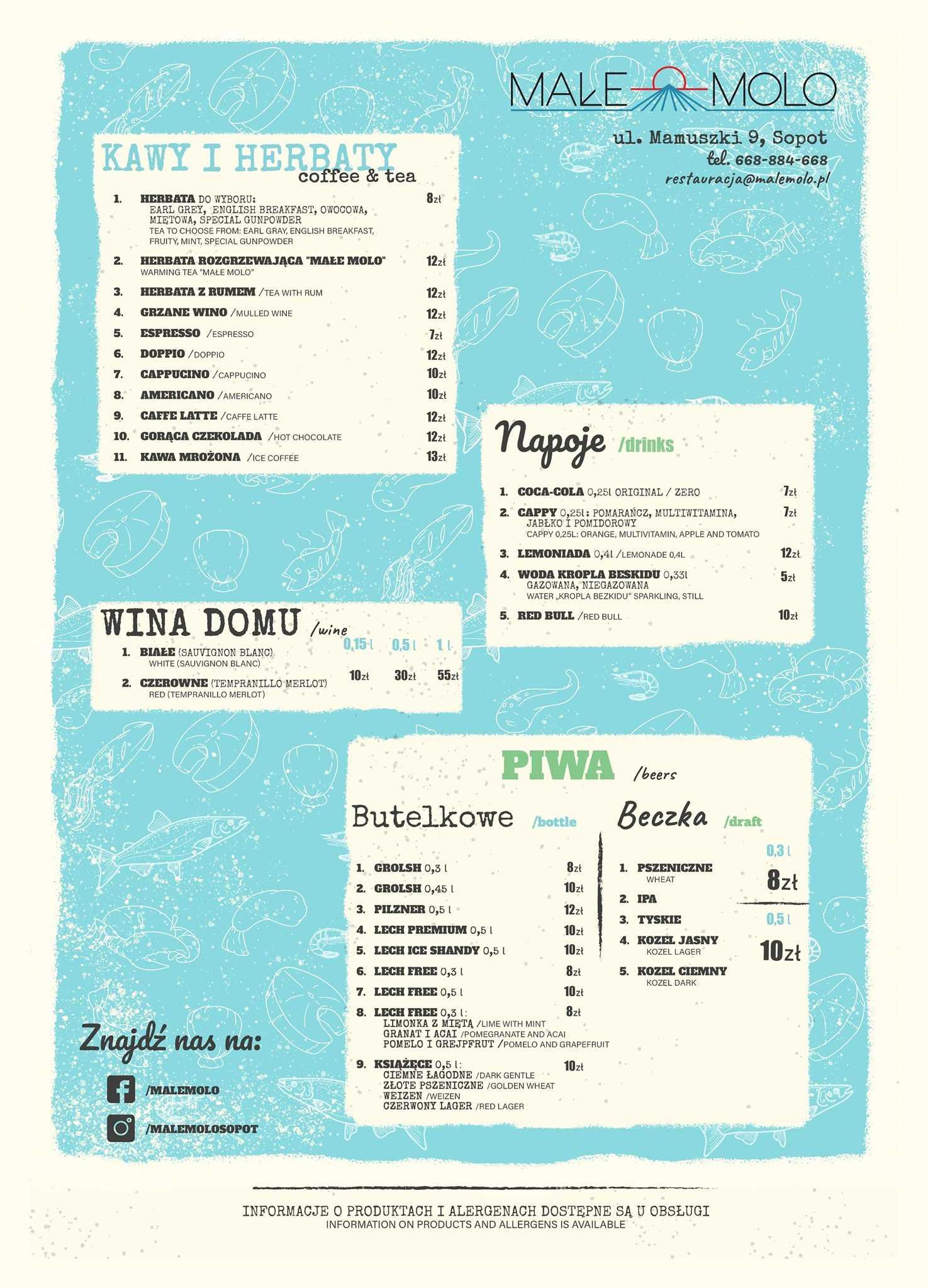 restauracja małe molo menu